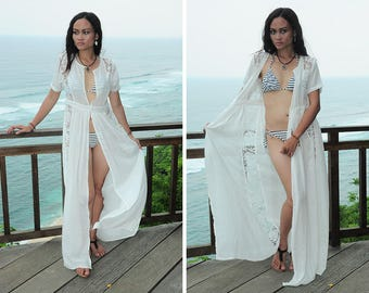 Maxi Beach Cover Up, Long Robe, Beach Robe, Brocade Robe,  Off White Robe, Resort Wear, Sexy Cover Up, Gift For Her, Honeymoon Dress