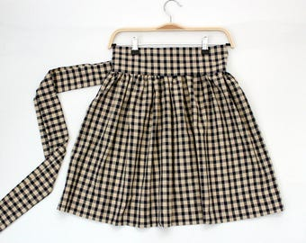 Gingham gathered half apron, gingham half apron, Country apron, cute aprons for sale, aprons for women, gathered half aprons, cute apron