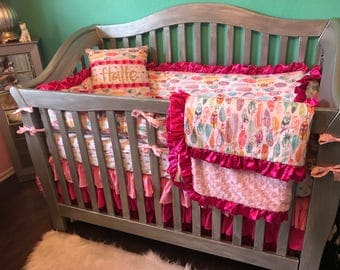 Custom Crib Bedding-arrows and feathers