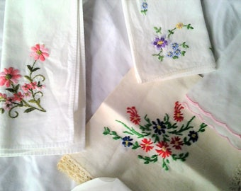 Ten Vintage Embroidered Hankerchieves - Some Lace -20% off