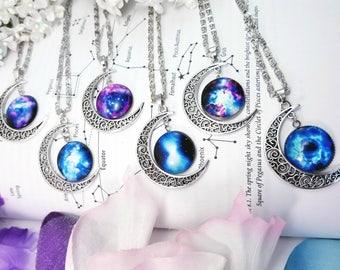 SALE Galaxy Moon Necklaces