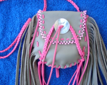 Native American Fringed Leather Medicine Bag Regalia Leather Necklace Bag  Necklace Pouch 1.00 shipping