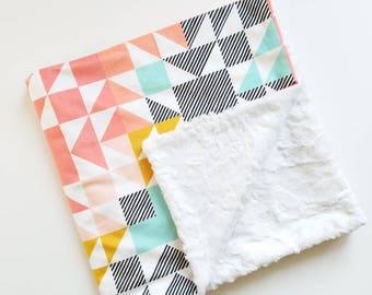 Multicolored Geometric Baby Blanket, Minky Blanket, Baby Girl Blanket, Toddler Girl Blanket, Modern Baby Blanket, Stroller Blanket, Aztec
