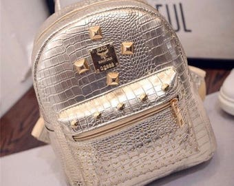 Gold PU leather mini backpack