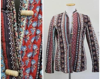 Vintage 70's TWO POTATO Laguna Beach California Calico Cotton Mandarin Collar Toggle Kimono Quilted Jacket Coat Boho Hippie
