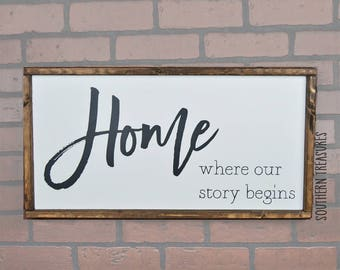 Home Where Our Story Begins Framed Farmhouse Style Wood Sign