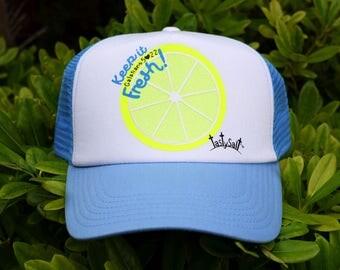 Keep it Fresh Summer Lemon Trucker Hat /Christian apparel, women's hat, women's trucker hat, Christian trucker