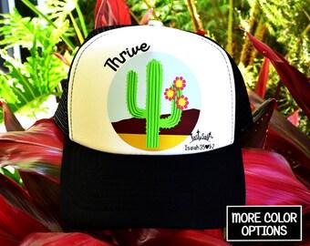Thrive Blooming Desert Cactus Trucker Hat /Christian apparel, women's hat, women's trucker hat, Christian trucker