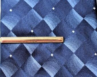 "Vintage Mid Century Tie Bar Clip Clasp Gold Tone Retro Minimalist Men's Gift Tie Accessories 2"""
