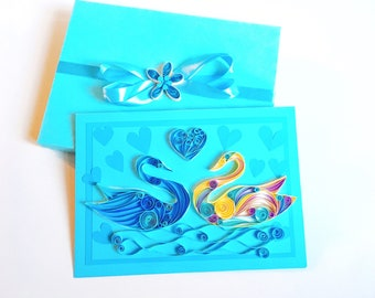 I Love You Swans Card,3D quilling swan,Swan Quilled Miniatures,Gift for wedding,Paper Quilling Cards,Quilling bird,Paper Quilling Birds