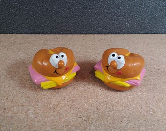 Pair of Burger King Toy Croissants on Wheels 1989 Collectible Vintage Fast Food Kid's Meal Toys