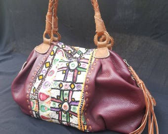 Boho vintage India textile and leather bag