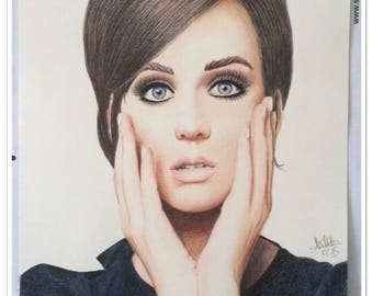 colored pencil portrait of Katy Perry