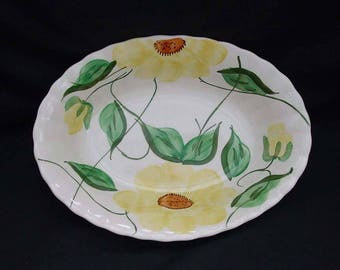 Blue Ridge Bowl SUN FLOWER Oval Vegetable Serving Dish 7 x 9.5 x 2 Hand Painted Yellow Floral Design Colonial Dinnerware (B32) 9996