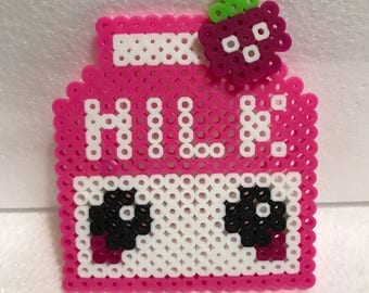 Kawaii 2D Perler Bead Strawberry Milk Carton
