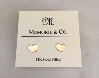 14k Gold Filled Heart Stud Earrings | Valentine Gift | Dainty Earrings | Minimalist Jewelry