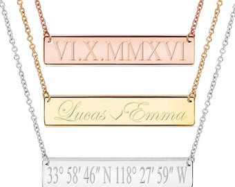 Gold Bar Necklace, Personalized Name Necklace, Custom Name, Kim Kardashian style Nameplate, Monogram Necklace, Bridesmaid Gift