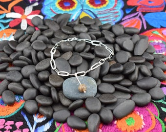 Sterling Silver Link Bracelet with Picture Jasper Bead