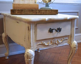 Shabby Chic Wood Side / End Table