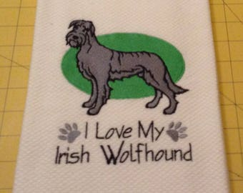 I Love My Irish Wolfhound Williams Sonoma Embroidered Kitchen Hand Towel 100% cotton, 20 x 30