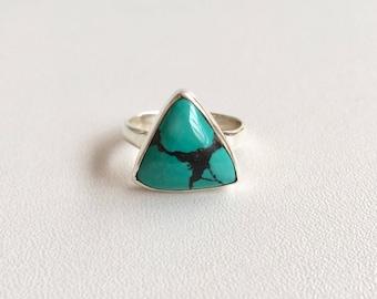 Turquoise triangular ring