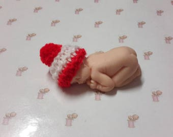 Miniature baby bonnet in handmade fimo knit red wool Pompom