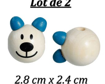 Bead spacer bear 3D natural and blue ear