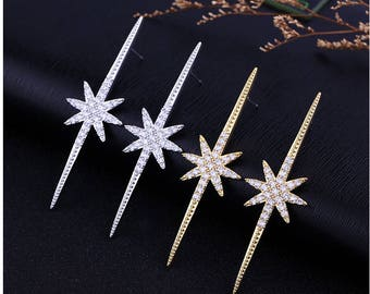 Cubic Zirconia Crystal Big Long Star Stud Earrings