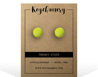 Tennis Ball Stud Earrings - Tennis Jewelry - Tennis Player Accessories - Nickel-free Stud Earrings