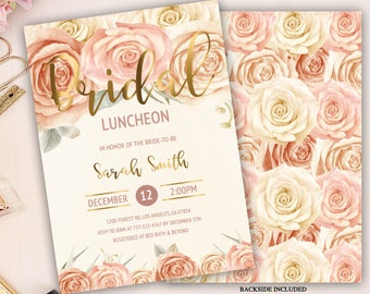 bridal luncheon invitation, rose floral gold bridal luncheon invitation, watercolor floral, bridal shower invitation, champagne roses