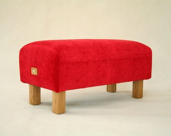 Upholstered Ottoman Red, Bench, Upholestered Bench, Pouf Ottoman, Entryway bench, Seat, Furniture, Chair, mySAMshop, colour 33
