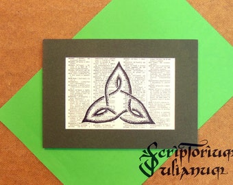 Celtic knotwork art, pagan decor, pagan gift, triquetra sign, wiccan decor, Celtic triquetra, Celtic decor, Wicca gift, Imbolc gift