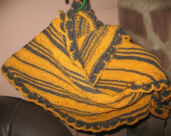Shawl covers shoulder scarf / grey and mustard yellow