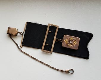 Victorian Ribbon Watch Fob with Locket and Diamond