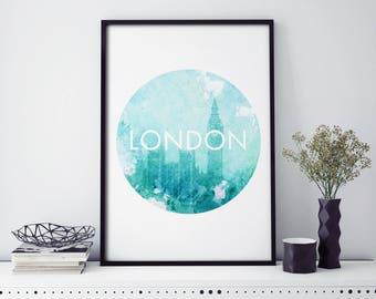 London, Big Ben Watercolour Print Wall Art | 4x6 5x7 A4 A3 A2