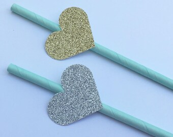 12 Glitter Heart Party Straws Gold Heart Straws Silver Heart Straws Baby Shower Straws Bridal Shower Straws Wedding Straws Mint Green
