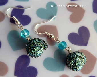 Earrings in 925 sterling silver shell snail polymer clay fimo and Pearl faceted turquoise blue