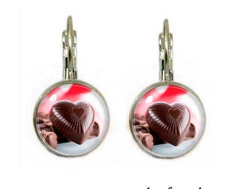 Earrings abochonschmuck cabochon 12 mm chocolate dream 7 chocolade dream 7