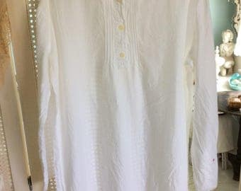 Vintage White Cotton Night Shirt/Gown, Pin Tucking, Embroidery, Lace, Size M, So...Lovely!