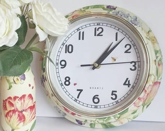 Hand decorated decoupage wall clock