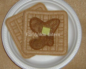 Waffles With Syrup and Butter - Felt Food - Play Food - Felt Embroidered Items - Quiet Time Play
