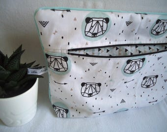 """Clutch """"two in one"""" Pocket diaper and toiletry products, cactus and pandas for child and baby toiletries"""