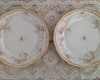 Set of 2 Antique Haviland Limoges France Pink Floral Gold Scalloped Rim Dinner Plates