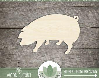 Wood Pig Shape, Unfinished Wood Pig Laser Cut Shape, DIY Craft Supply, Many Size Options