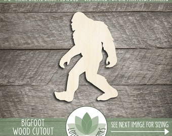 Bigfoot Wood Cutout, Wooden Bigfoot Shape, Blank Wood Shapes, Unfinished Wood For DIY Projects, Wood Sasquatch Shape, Many Size Options
