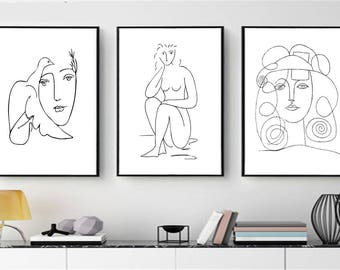 Set of 3 Prints Picasso Prints Line Print Scandinavian Prints Minimalist Art Printable Picasso Black White Wall Prints Picasso Girl Print
