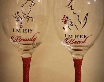 Beauty and the beast his beauty her beast glitter wine glass set gift birthday/engagement/anniversary/wedding/christmas