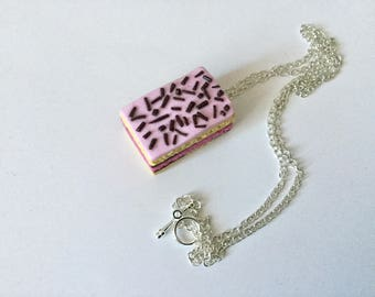 Neapolitan pink polymer clay necklace