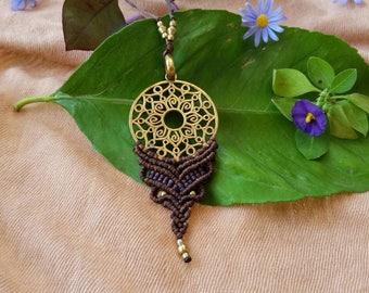 Mandala necklace, macrame necklace, micro macrame, long necklace, boho necklace, tribal necklace, tribal jewelry, brass mandala, hippie