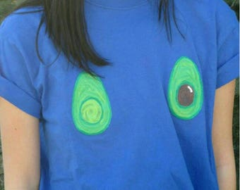 Avocado boobs tee shirt hand painted